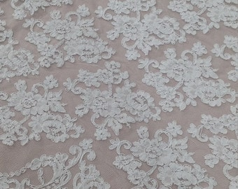 Snow white lace fabric, French Lace, Embroidered lace, Wedding Lace, Bridal lace, White Lace, Veil lace, Lingerie Lace Alencon Lace EVS008B