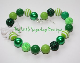 Lucky Charm Chunky Necklace-St. Patricks's Day-Bubblegum Necklace-Baby-Toddler-Girls-Women
