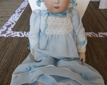 SALE - Nippon Pearle Bisque Doll w/ Cloth Body and Bisque Bonnett, Vintage Dress, Vintage Bisque Doll, Cloth Body Doll