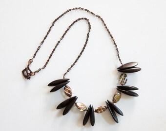 Czech Glass, Wood, Antique Copper Necklace