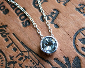 Green amethyst necklace silver, solitaire necklace, February birthstone necklace, gemstone necklace, gift for women, ready to ship, wrought