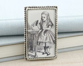 Drink Me - Alice in Wonderland Brooch Pin - Literature Jewelry for Book Lovers