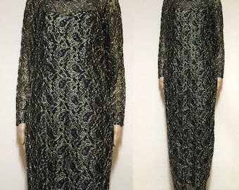 Vintage 90s Metallic Lace Dress 1990s Black Gold Low Back Vtg Long Length Sheer Lined Evening Wear Size M