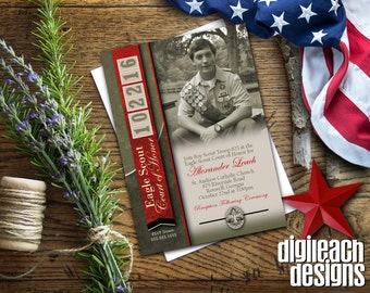 Eagle Scout Court of Honor Invitation: Leather with Unit Numbers for Date - Digital File