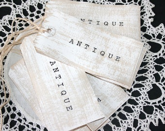 """ANTIQUE Gift Tags // Large Shabby Chic Tags // Cottage Style Gift Tags // Set of 6 Gift Tags //  Whitewashed """"Antique"""" tags"""