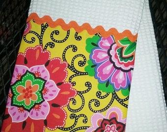Baja Floral Print Kitchen Print Towel Cotton Print with Orange Rick Rack Trim