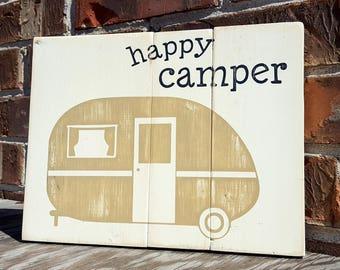 Happy camper sign - happy camper - camping - camping gift - camping decor - camper - camping sign - camper sign - rv decor - rv sign - rv
