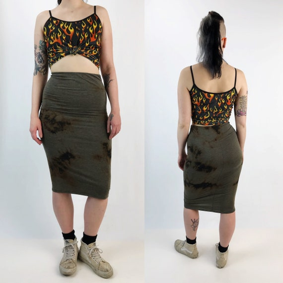 Black Tie Dye Cotton Midi Skirt High Waist Small - Bleach Grunge Dark Tie Dye Bodycon Midi Skirt - Black Brown Grunge Goth Tight Fit Skirt