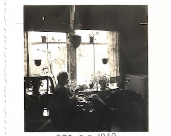 """Vintage Snapshot """" Quiet Time"""" Older Woman Sewing Or Crocheting Natural Light Mood Atmosphere Black & White Small Mini-Photo"""