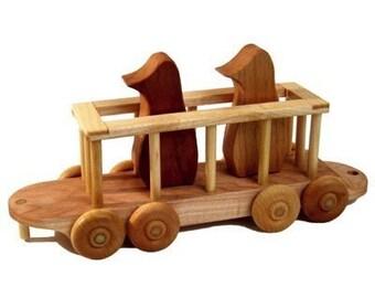 Wooden Train Zoo Car Penguin