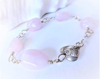 25% off ROSEBUD Rose Quartz Gemstone Nugget Sterling Silver Link Bracelet, casual gemstone jewelry