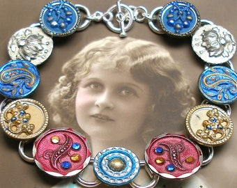 "Paris Paisley Antique BUTTON bracelet, French Victorian buttons in blue & pink, 7.75"" jewellery. Present, gift."