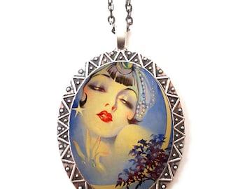 Flapper Gypsy Necklace Pendant Silver Tone - Art Deco 1920's Jazz Age Crescent Moon Boho Bohemian
