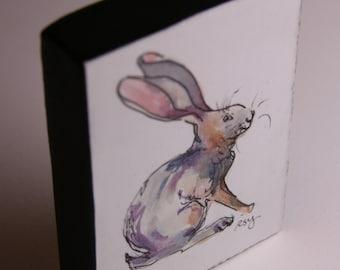 Hare; Original Watercolor Varnished on Wood