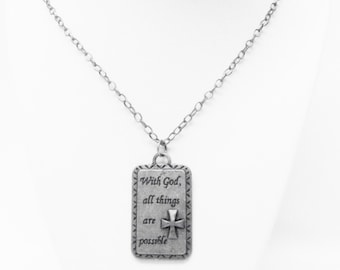 "Antique Silver Plated Rectangle Pendant ""With God all things are possible"" Necklace"