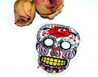 Skull Applique patch iron stylized skull embroidered patch