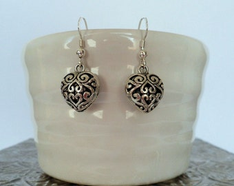 heart earrings, Sterling Silver ear wires, bridesmaid gifts, filigree hearts
