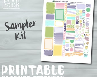 Sampler Planner Stickers - Printable Planner Stickers for Erin Condren, Happy Planner and others!