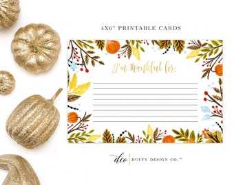 I Am Thankful For Cards, Thanksgiving Printable Cards, Thankful Cards, Giving Thanks Cards, Thanksgiving Table Cards, Gratitude Cards, 4x6