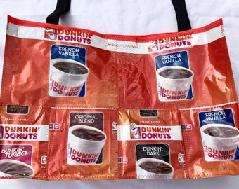 Fun Eco Friendly tote bag made with Recycled Coffee bags upcycled repurposed