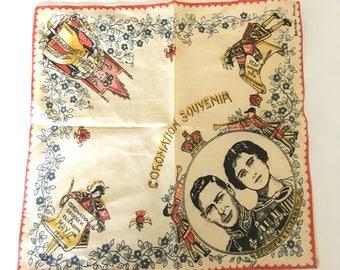 Vintage Antique British Made 1936-1937 Coronation Souvenir Handkerchief George Elizabeth Royalty King Queen England