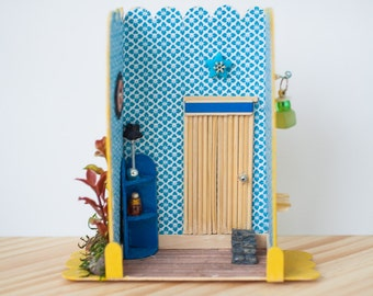 Simple Blue Hall opened with furniture and cat picture