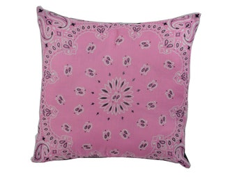Light Pink Bandana Pillow Cover - Home Decor