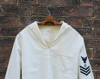 1940s WWII US Navy Issued White Pullover Jumper