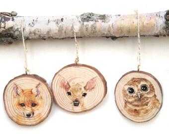 PICK ANY THREE Rustic Wood Ornaments