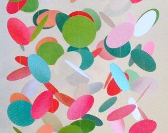 Aqua, Pink, Green White Mobile, Nursery Mobile, Paper Mobile, Crib Mobile, Customizable Mobile