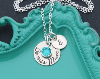 Mom Necklace Stepmom Gift • Step Mother Gift Step Mom Gift Initial Mom Gift • Mother Initial Jewelry Birthstone Bonus Mom Present