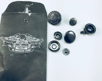 Harley Davidson buttons, Harley grommets, harley vest buttons, snap buttons, shield & bar, replacement buttons, harley oem, HD vest