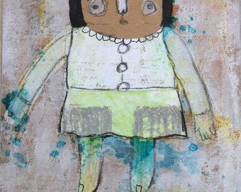 Kids Room Art - Outsider Art - Primitive Painting - Home Decor Art - Outsider Painting - Whimsy Painting
