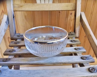 Rimmed bowl - silverplate and crystal 1990s