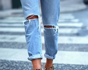 Distressed Boyfriend Jeans/Hipster Jeans/All Sizes/Grunge Jeans/boho/vintage jeans/womens jeans