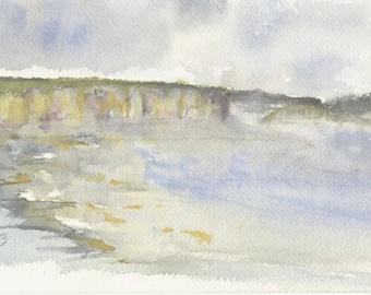 Original watercolor painting 15 x 23 cm, cliffs from Dieppe to Pourville