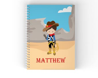 Cowboy Personalized Notebook - Cowboy Hand Wave Desert with Name, Customized Spiral Notebook Back to School