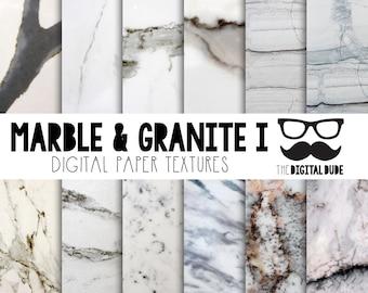 Premium Digital Paper Set, Marble & Granite, Digital Textured Paper, Scrapbook Paper, Digital Texture, Instant Download