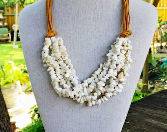 Chunky White Howlite Suede Necklace