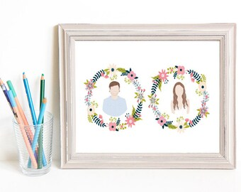 Though Very Humble : Custom Floral Wreath Cameo Wedding 8x10 Portrait Illustration