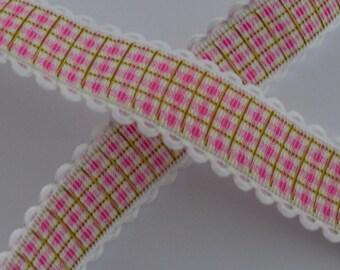1 meter Ribbon Fuchsia Plaid 25mm wide lace