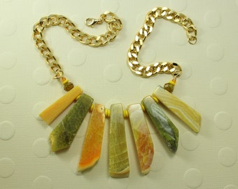 Graduated Yellow Agate Free-form Slab  Necklace