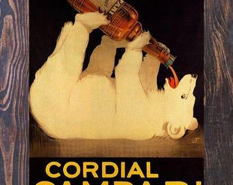 Cordial Campari Polar Bear Vintage Ad, Vintage Liquor Ad , Liquor Ad, Liquor Print, Vintage Art, Giclee Art Print, fine Art Reproduction