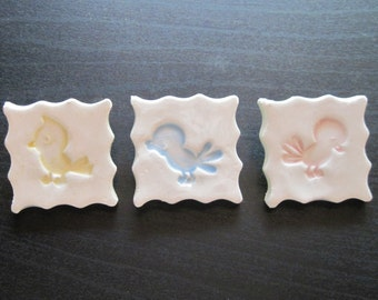Baby Bird Buttons Set of 3 Handmade Stoneware Shank Buttons