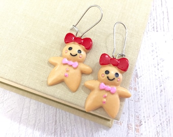 Cute Smiling Gingerbread Cookie Girl with Red Bow Large Novelty Dangle Earrings with Surgical Steel Ear Wires