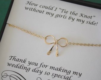 11 Gold Tie the Knot Bracelets, Bow Bridesmaids Bracelets, Bridesmaid Gift, Gold Bow, Charm Bracelet, Knot Bracelet, Thank you card