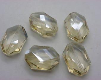 5 large 25 mm x 18 mm 11 hole 1 mm crystal glass beads mm smoky beige