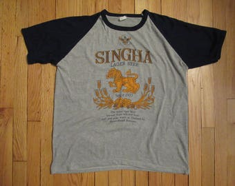 Rare Vintage Singha Lager Beer T-Shirt 80s 90s Thailand