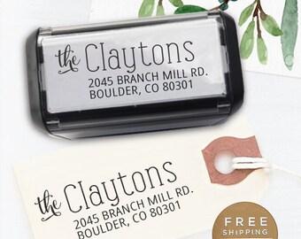Custom Address Stamp, Return Address Stamp, Wedding address stamp, Calligraphy Address Stamp, Self inking Stamp - Clayton