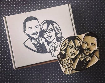Custom Wedding Portrait Stamp - Couples Rubber stamp, custom face stamp, engagement gift, wedding gift, wedding stationary, thank you stamp